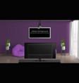 living room realistic interior mockup vector image vector image