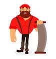 lumberjack handsome logger cartoon character vector image