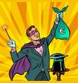 magician with euro money vector image