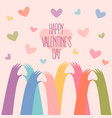 many hands making a heart valentines day vector image