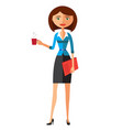 office woman with cup flat cartoon vector image vector image