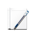 Pen and notebook isolated on white vector image vector image