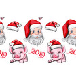 pig year pattern background santa claus vector image vector image