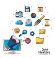 poster of digital marketing with megaphone coming vector image vector image