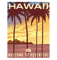 retro style travel poster hawaii vector image vector image