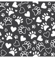 Seamless pattern with paw and heart prints Cute vector image vector image
