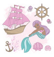 ship mermaid sea ocean summer cruise vector image vector image