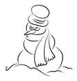 snowman drawing on white background vector image