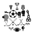 sport equipment icons set simple style vector image vector image
