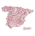 textured map of spain hand drawn ethno vector image vector image