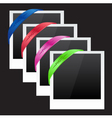 Three photo frames with corner ribbon vector image