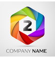 Two number colorful logo in the hexagonal on black vector image vector image