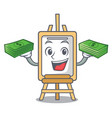with money easel mascot cartoon style vector image vector image