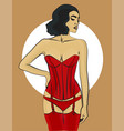 woman with dark hair in red underwear and in a vector image vector image