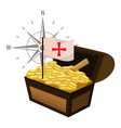 wooden chest with gold coins and flag cross vector image
