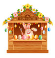 wooden trade stall for easter fair vector image
