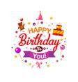 happy birthday kids typography card vector image