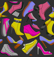 dark shoes seamless pattern vector image