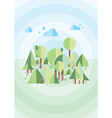 green forest on a blue background vector image