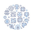 ai technology round creative outline vector image vector image