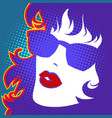 beautiful female face pop art red lips vector image