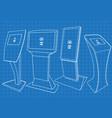 blueprint of four interactive information kiosk vector image vector image