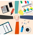 businessman and woman join hands vector image