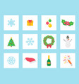 christmas wreath made of mistletoe and bow icons vector image vector image