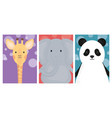cute animals elephant giraffe and panda banner vector image