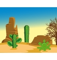 Desert with cactus vector image vector image