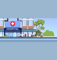 different patients walking to new modern hospital vector image vector image