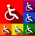 disabled sign set of icons vector image vector image