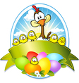 easter label with colorful eggs chicken and hen vector image