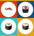 flat icon salmon set of eating sashimi sushi and vector image vector image