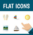 flat icon summer set of yacht reminders beach vector image