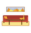 flat of living room with a red sofa vector image vector image