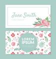 floral visit card with flower arrangement vector image
