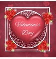 Flower Heart Text Valentine Day Greating Card vector image vector image