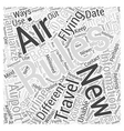 Flying How to Learn the New Air Travel Rules Word vector image vector image