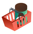 full red shop basket icon isometric style vector image