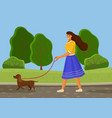 girl in blue skirt is walking brown dog in nature vector image