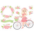 Girl with Bicycle vector image vector image