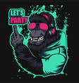gorilla headphone party vector image