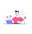 guy in glasses working on laptop vector image