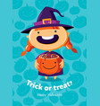 halloween poster trick or treat with witch vector image vector image