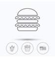 Hamburger carrot and chips icons vector image