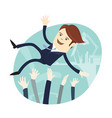 happy business man wearing suit threw in the air vector image