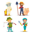 happy fisherman beekeeper farmer in straw hat vector image vector image