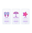 holiday thin line icons set flippers beach vector image