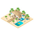 isometric rest house a girl with a suitcase vector image